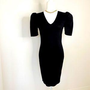 NWOT John+Jenn Black knit Puff Sleeve Dress